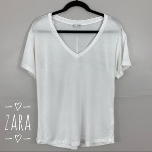 Zara basic collection white V neck Tee